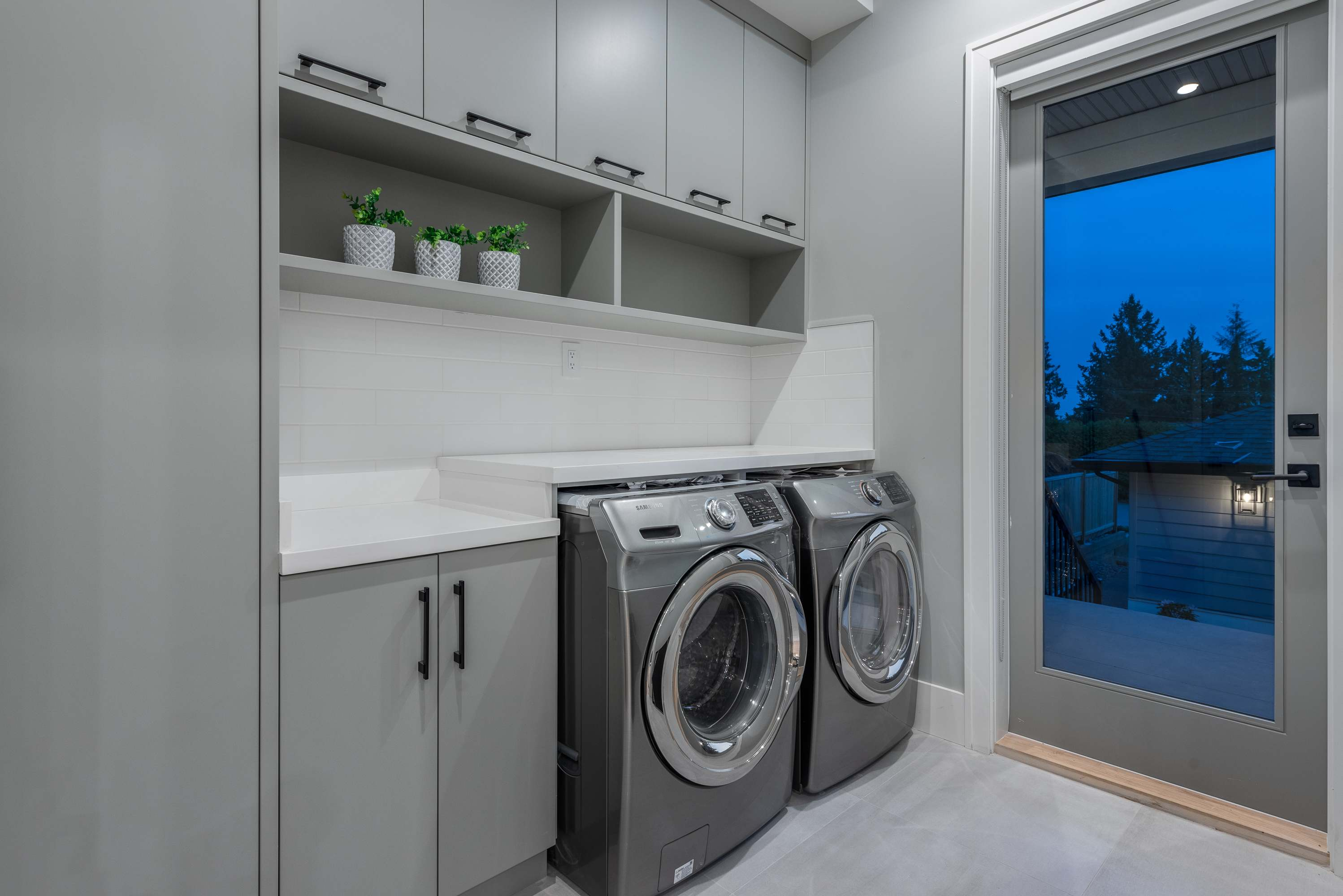 Interior view of a laundry room